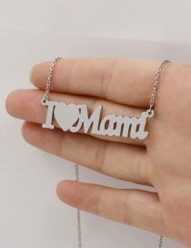 Fashion Steel Color Letter Love Stainless Steel Hollow Necklace