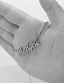 Fashion Steel Color Stainless Steel Letter Butterfly Hollow Necklace
