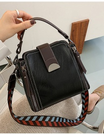 Fashion Black Soft Leather Zipper Wide Shoulder Strap One-shoulder Messenger Bag