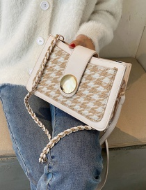 Fashion Beige Woolen Houndstooth Woven Chain Shoulder Messenger Bag