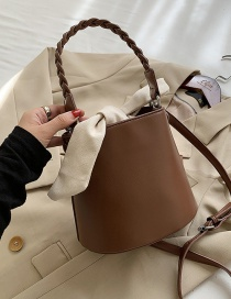 Fashion Brown Bowknot Drawstring Solid Color One-shoulder Messenger Bag