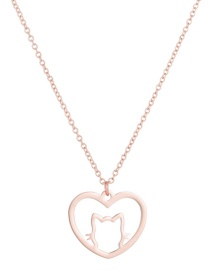 Fashion Rose Gold Cat Love Hollow Stainless Steel Pendant Necklace