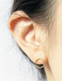 Fashion Gold Color Geometric Hexagonal Stainless Steel Earrings