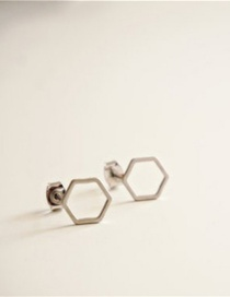 Fashion Silver Color Geometric Hexagonal Stainless Steel Earrings