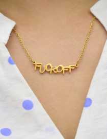 Fashion Necklace-gold Mirror Letter Stainless Steel Pendant Necklace Ring