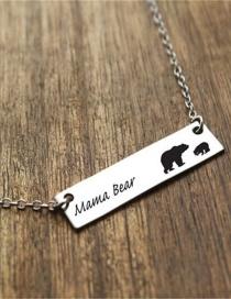 Fashion White K Bear Letter Rectangular Alloy Necklace