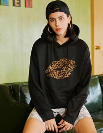 Fashion Black Leopard Print Lip Print Hoodie