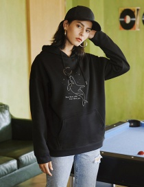 Fashion Black Dolphin Animal Print Hoodie