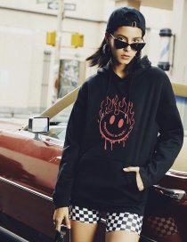 Fashion Black Smiley Sun Print Hoodie