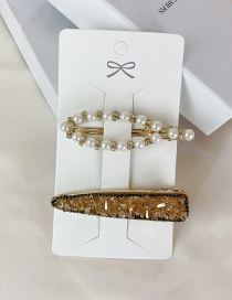 Fashion Gold Color Pearl And Diamond Hollow Geometric Hairpin Set