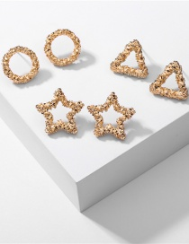 Fashion Gold Color Alloy Five-pointed Star Geometric Earrings Set