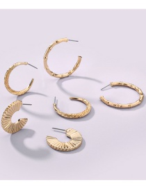 Fashion Gold Color Alloy Fan-shaped Bamboo Joint Geometric Earrings Set