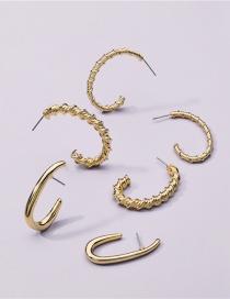 Fashion Gold Color Alloy Geometric Irregular Earrings Set