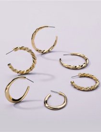 Fashion Gold Color Alloy Thread Geometric Earring Set