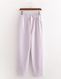 Fashion Purple Pink Paper Bag Loose Elastic Waist Trousers