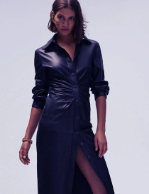 Fashion Blue Faux Leather Shirt Pleated Dress