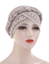 Fashion Gray Braided Milk Silk Flower Print Geometric Turban Hat