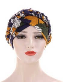 Fashion Yellow + Navy Braided Milk Silk Flower Print Geometric Turban Hat