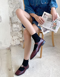Fashion Red Wine Chunky Low Heel Square Toe Pearl Flower Single Shoes