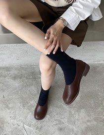 Fashion Dark Brown Shallow Mouth Low Block Heel Square Toe Shoes