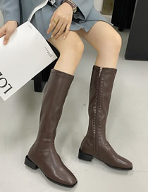 Fashion Brown Square Toe Block Heel Side Zip Boots