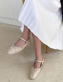 Fashion Creamy-white One-line Buckle Flat Pumps Ballet Shoes
