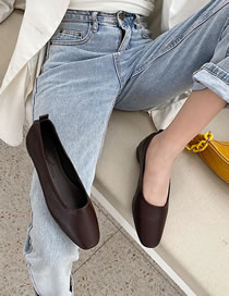 Fashion Dark Brown Folded Flat Shallow Shoes With Square Toe