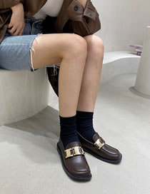 Fashion Brown Metal Buckle Square Toe Flat Shoes