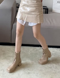 Fashion Apricot Square Toe Block High Heel Lace-up Martin Boots