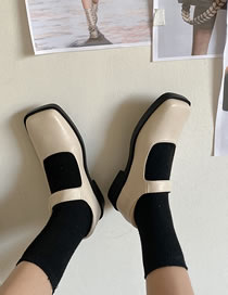 Fashion Creamy-white Flat Square Toe Buckle Thick Heel Shoes