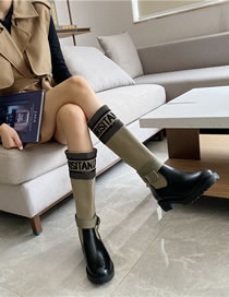 Fashion Dark Gray Embroidered Letters Non-slip Block Heel Stretch Round-toe High Boots