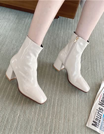 Fashion Creamy-white Square Toe Thick High-heeled Shiny Soft Leather Stretch Ankle Boots