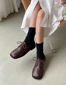 Fashion Dark Brown Square Toe Flat Deep Lace-up Shoes