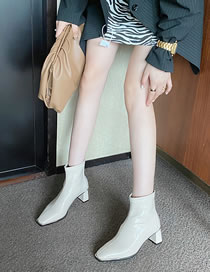 Fashion Creamy-white Block High Heel Patent Leather Short Boots With Back Zipper