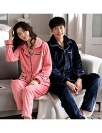 Fashion Powder Blue (female Models) Letter Embroidered Coral Velvet Padded Home Service Couple Pajamas Suit
