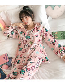 Fashion Printed Fruit Embroidered Lapel Flannel Pajamas Home Service Suit