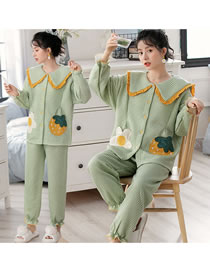 Fashion Plaid Green Embroidered Contrast Color Pure Cotton Postpartum Thickening Nursing Confinement Suit