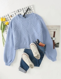 Fashion Blue Short Ripped Knit Pullover Sweater