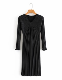 Fashion Black Knitted Long Dress With Chest