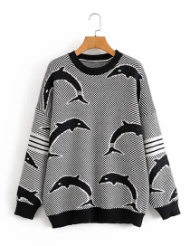 Fashion Black Dolphin Pattern Knitted Pullover