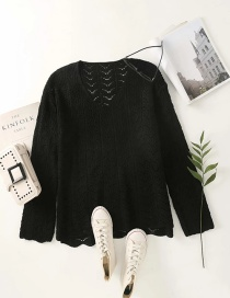Fashion Black V-neck Hollow Knit Pullover Sweater