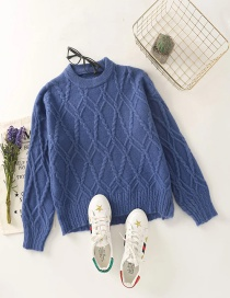 Fashion Blue Round Neck Solid Color Twist Knit Pullover Sweater