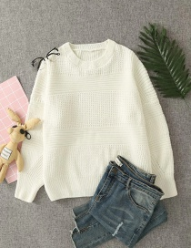 Fashion Creamy-white Ferret Thick Wool Round Neck Knitted Pullover Sweater