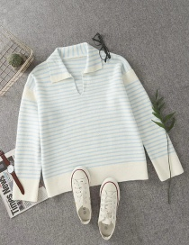 Fashion Blue Lapel Striped V-neck Knitted Sweater