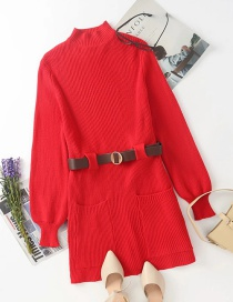Fashion Red Knit Skirt With Belt Pocket