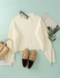 Fashion Creamy-white Hanging Round Neck Pullover Loose Sweater