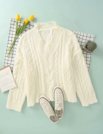 Fashion Creamy-white Twisted V-neck Knitted Pullover Sweater