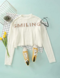 Fashion Creamy-white Short Letter Knitted Pullover