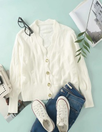 Fashion White Wavy Knitted Cardigan With Jewelry Buttons