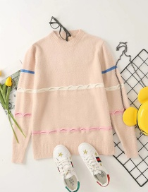 Fashion Pink Mohair Striped Pullover Loose Sweater